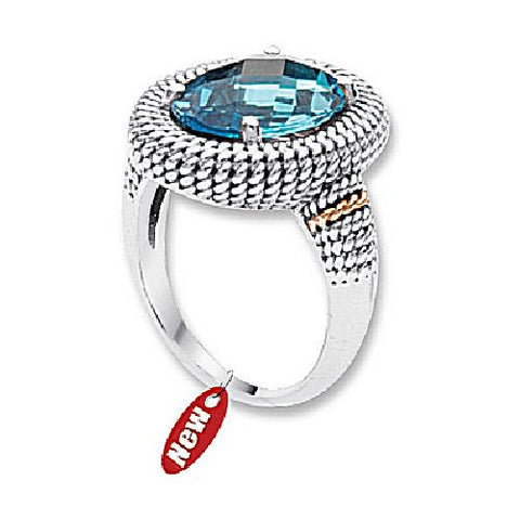 Blue Topaz Textured Ring  in Sterling Silver and 14kt Yellow Gold