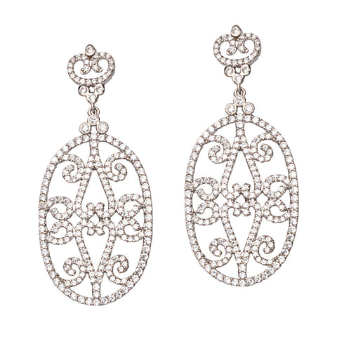 Sterling Silver Cubic Zirconia Fancy Oval Earrings