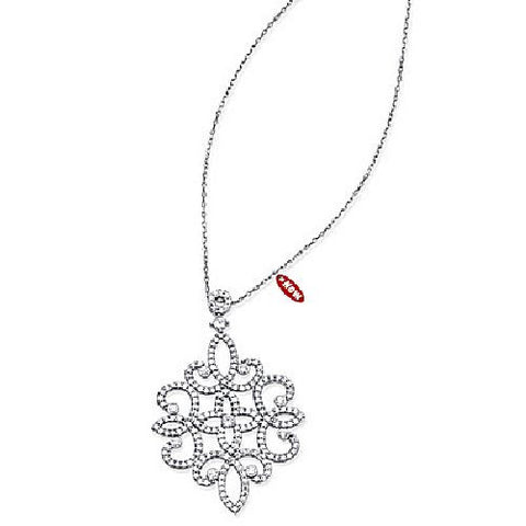 Sterling Silver Fancy CZ Adjustable Necklace