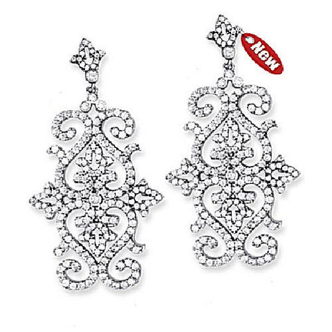 Sterling Silver Cubic Zirconia Fancy Drop Earrings