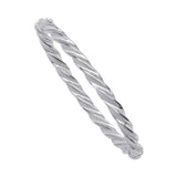 Sterling Silver Frosted and Shiny Twisted Bangle