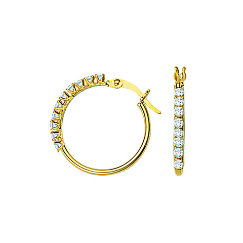10kt Yellow Gold 15mm Round Tube CZ Hoop Earrings