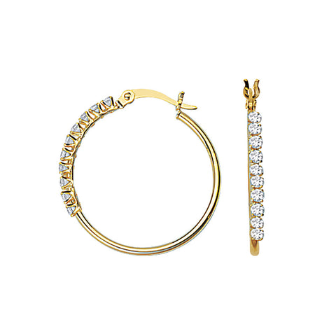 10kt Yellow Gold 20mm Round Tube CZ Hoop Earrings