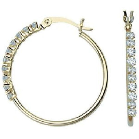 10kt Yellow Gold 25mm Round Tube CZ Hoop Earrings