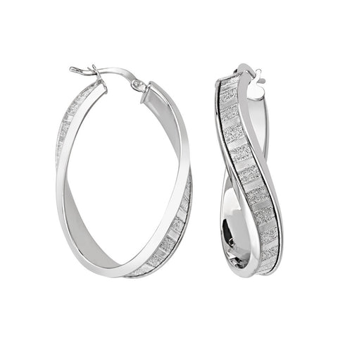 Sterling Silver Oval Twist Glitter Hoop Earrings