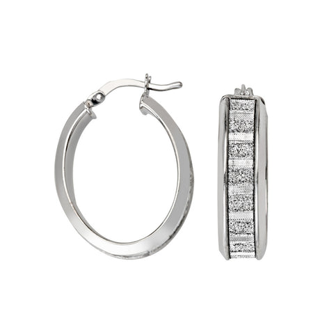 Sterling Silver Oval Glitter Hoop Earrings