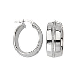 Sterling Silver Oval Glitter Wide Hoop Earrings