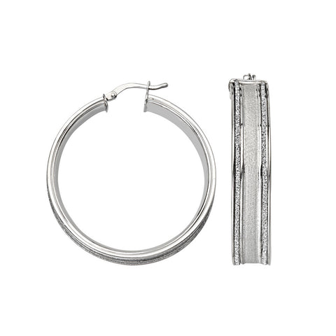 Sterling Silver Round 2 Bar Glitter Hoop Earrings