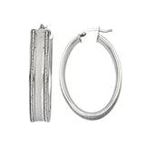 Sterling Silver Oval 2 Bar Glitter Hoop Earrings