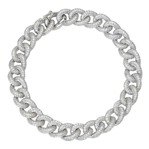 Sterling Silver Cubic Zirconia Curb Link Bracelet