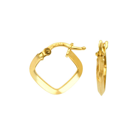 14kt Yellow Gold  Square Knife Edge Hoop Earrings