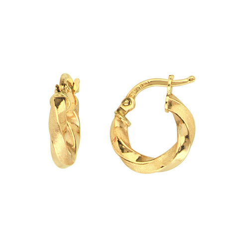 14kt Y.G. Twisted Satin/Shiny Tube Baby Hoop Earrings