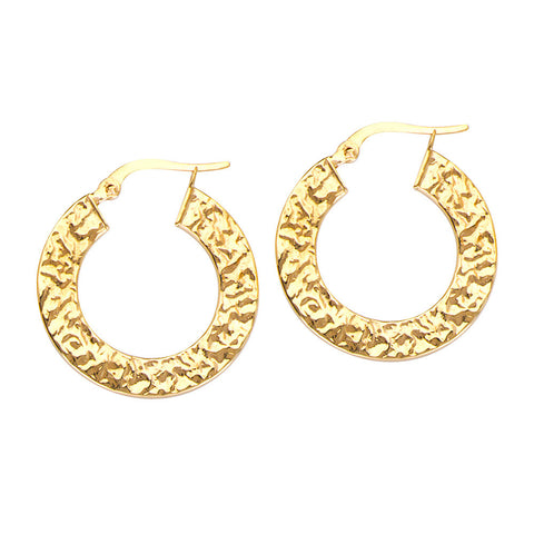 10kt Yellow Gold Hammered Hoop Earrings