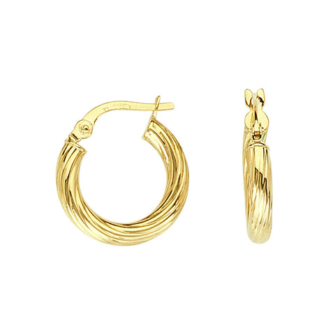 14kt Yellow Gold Round Twisted Hoop Earrings