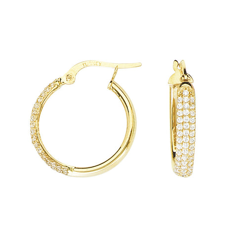 14kt Yellow Gold Round CZ Pave Hoop Earrings