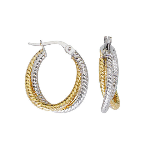 10kt Two Tone Interwoven Rope Design Hoop Earrings
