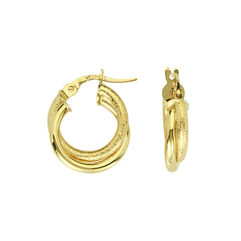 14kt Yellow Gold Interwoven Plain & Frosted Baby Hoop Earrings