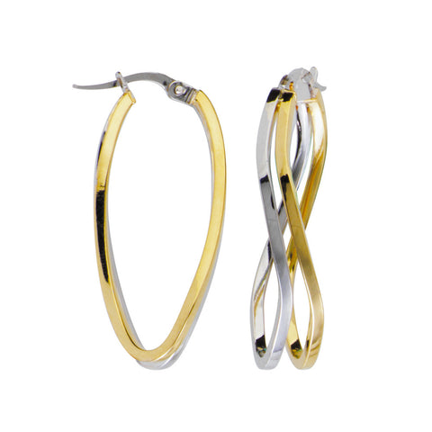 10kt Two Tone Double Wave Square Tube Hoop Earrings