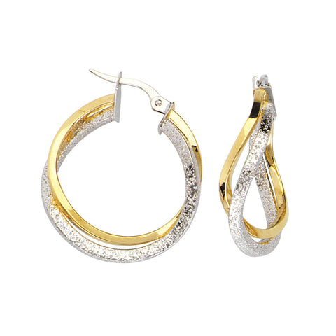 10kt Two Tone Interwoven Plain Square Tube Hoop Earrings