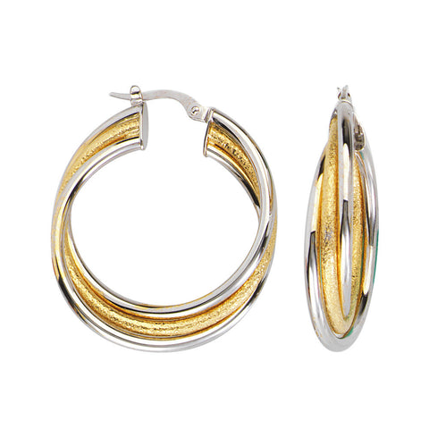 10kt Two Tone Round Interwoven Plain Square Tube Hoop Earrings