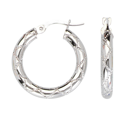 10kt White Gold Round Criss Cross Ribbon Design Hoop Earrings