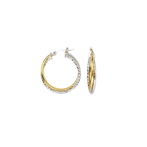 10kt Two Tone Interwoven Plain/Textured Hoop Earrings