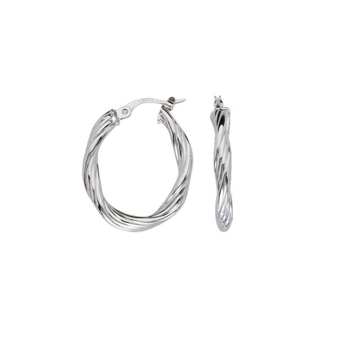 10kt White Gold Twisted Tube Oval Hoop Earrings