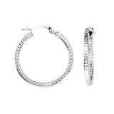 10kt White Gold Textured Hoop Earrings