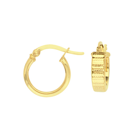 14kt Yellow Gold  Textured Tube Baby Hoop Earrings