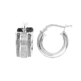 Sterling Silver Glitter 10mm Baby Hoop Earrings