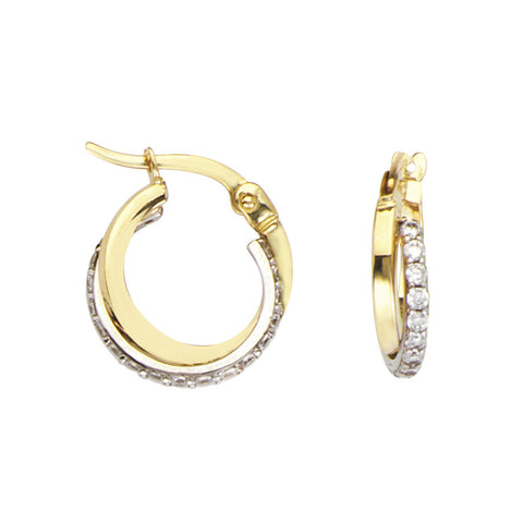 14kt Two Tone Gold Round CZ Pave Hoop Earrings