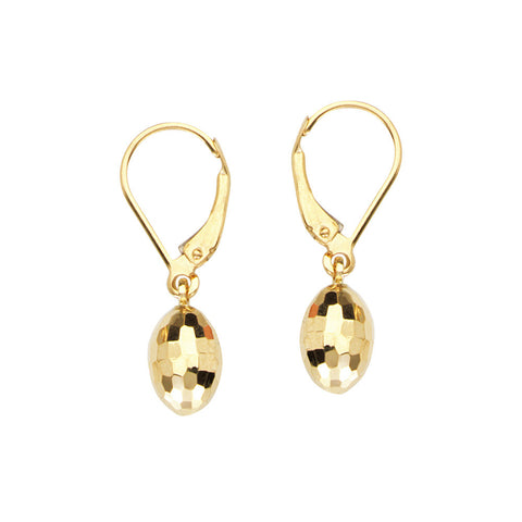 14kt Yellow Gold Egg shaped Leverback Earrings