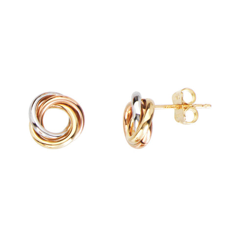 Tri Color Gold Love Knot Earrings 14kt