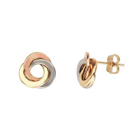 Love Knot Earrings in 14kt Tri Color Gold