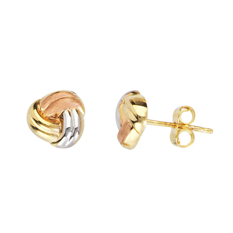14kt Tri Color Gold Love Knot Earrings