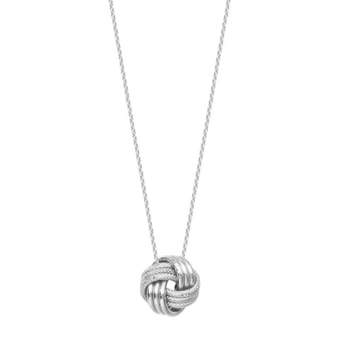 14kt White Gold 3 Row Textured Shiny LoveKnot Adjustable Necklace