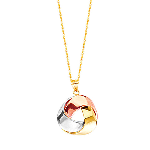 14kt Tri Color Flat Ribbon Tube LoveKnot Adjustable Necklace