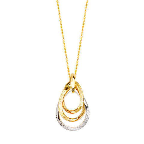 14kt Two Tone Triple Teardrop Shiny DC Adjustable Necklace