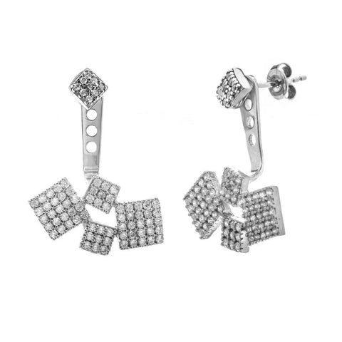 Sterling Silver Cube Cubic Zirconia Earrings