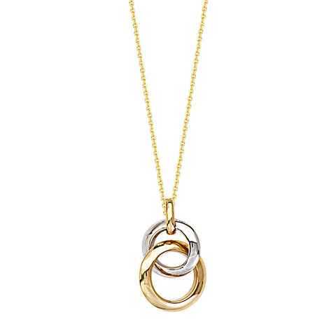 14kt Two Tone Intertwined Circle Necklace