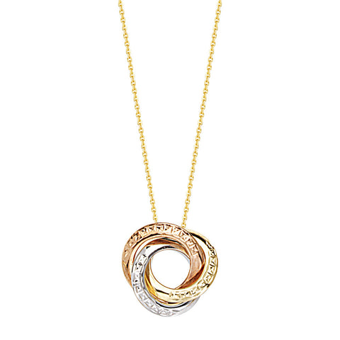 14kt Tri Color Circle LoveKnot Adjustable Necklace