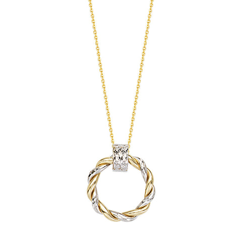 14kt Two Tone Braided Shiny Round Doorknob Adjustable Necklace