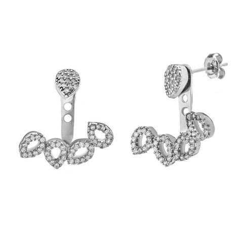 Sterling Silver C.Z. Drop with C.Z. Open Drop Earrings