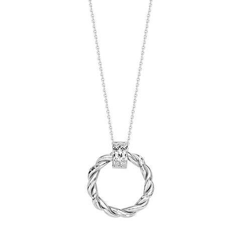 14kt White Gold Braided Shiny Round Doorknob Adjustable Necklace