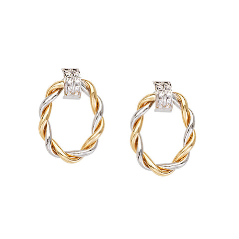 14kt Two Tone Braided Shiny Oval Doorknob Earrings