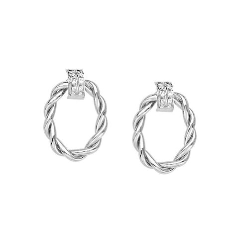 14kt White Gold  Braided Shiny Oval Doorknob Earrings