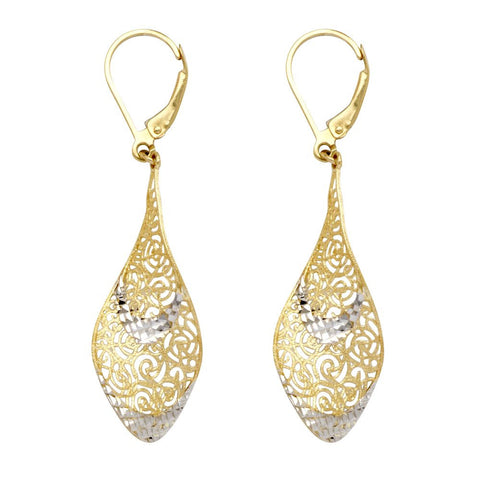 10kt Two Tone  Filigree Dangle Earrings