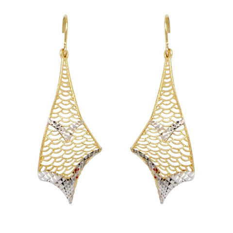 10kt Two Tone Fancy Filigree Dangle Earrings