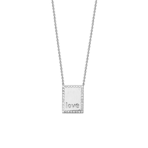 Sterling Silver High Polished CZ Plate with LOVE Adjustable Necklace
