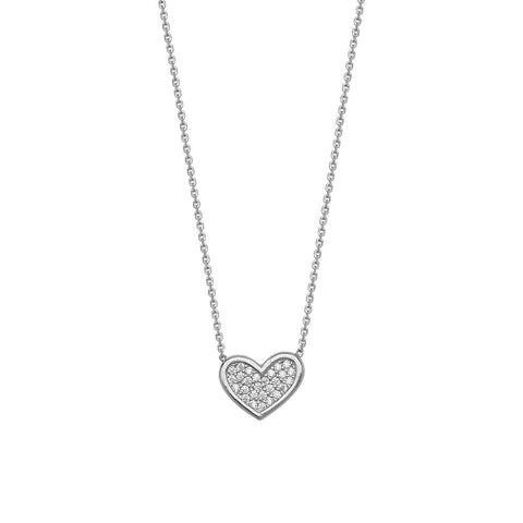 Sterling Silver Cubic Zirconia Heart Shaped Adjustable Necklace
